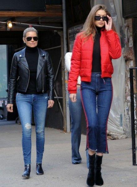 818b8ac228f Gigi Hadid Puffa Jacket - Gigi Hadid headed out in New York City looking  bright in a red puffer jacket.