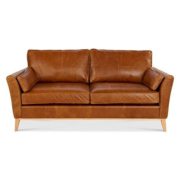 Maxwell Brown Leather Sofa Front View Modish Living