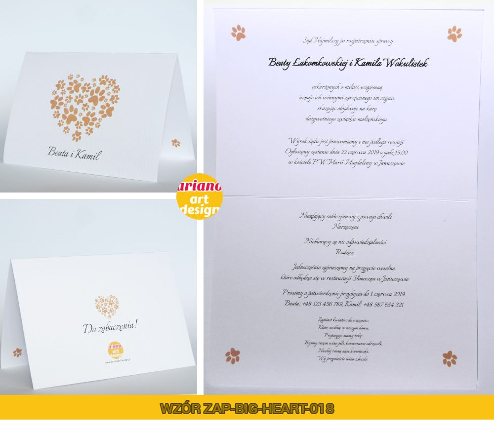 Zaproszenia Slubne Duze Serce Druk Kolor Koperta 5741974267 Oficjalne Archiwum Allegro Place Card Holders Place Cards Card Holder