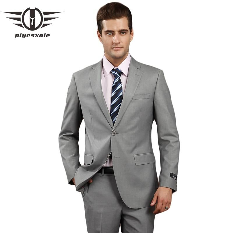 0b567e58a3bf Plyesxale Men Suits 2018 Brand Clothing Slim Fit Men Formal Suit Gray Mens  Suits Wedding Groom 4XL Wool Blazer With Pants Q74. Yesterday's price: US  $193.97 ...