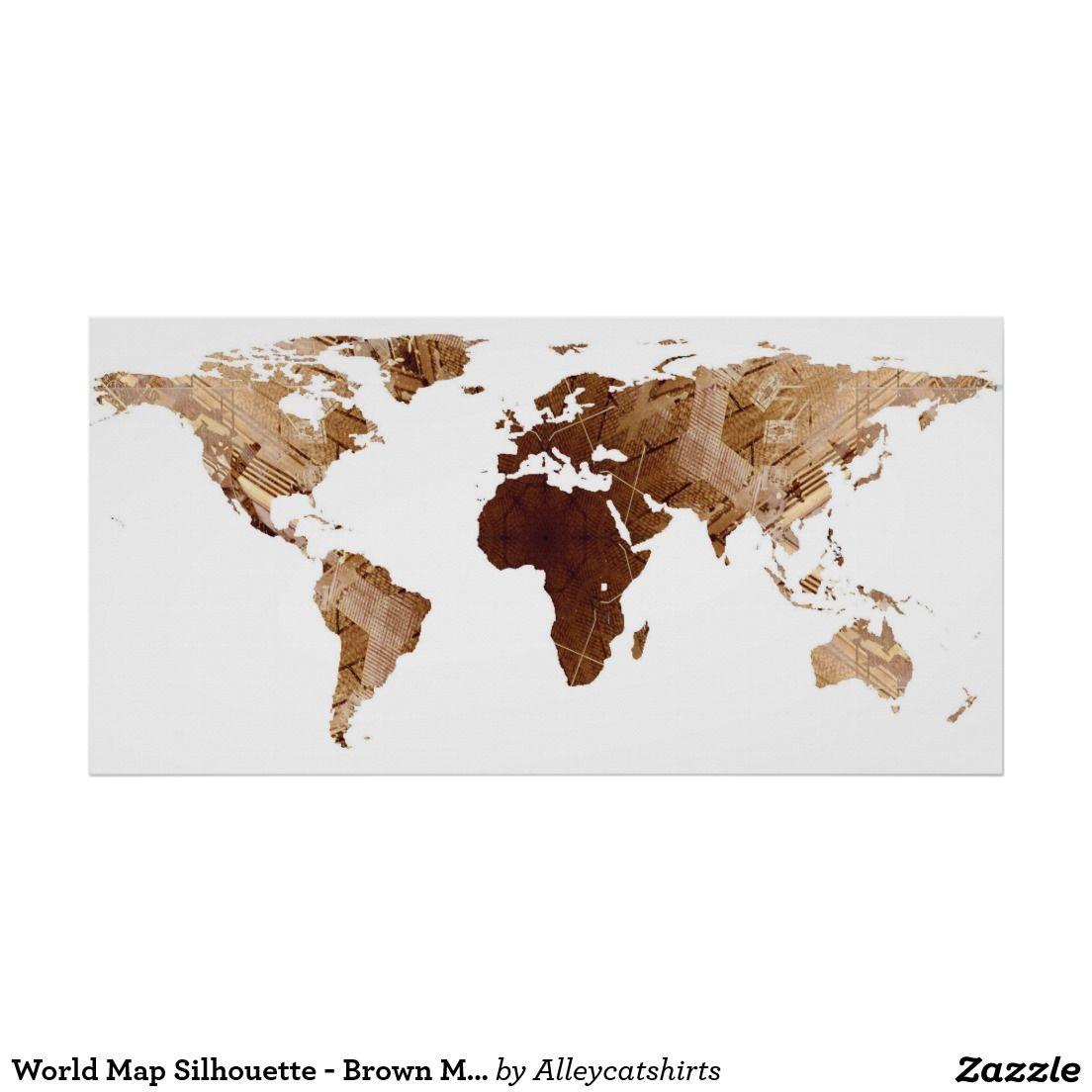 World Map Silhouette Brown Mandala Poster Pinterest Mandala - World map silhouette poster