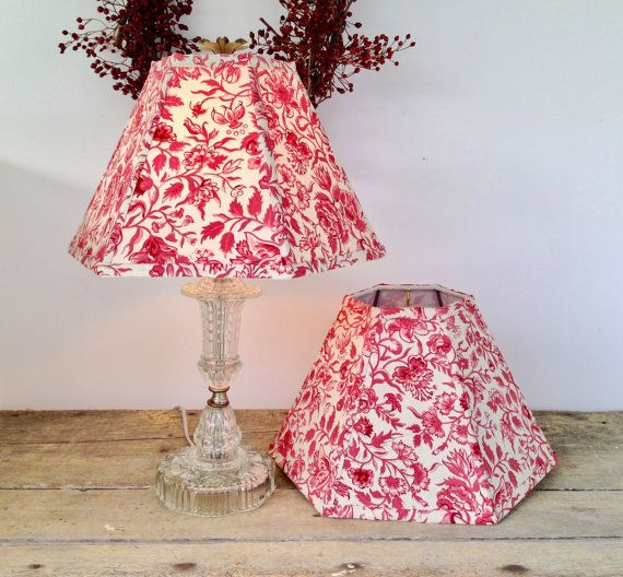 Red floral lamp shade french general fabric lampshade hex 5t x 12 holiday lamp shades lampshades in red french by lampshadelady aloadofball Choice Image