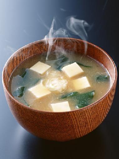 Miso Soup with tofu and wakame seaweed