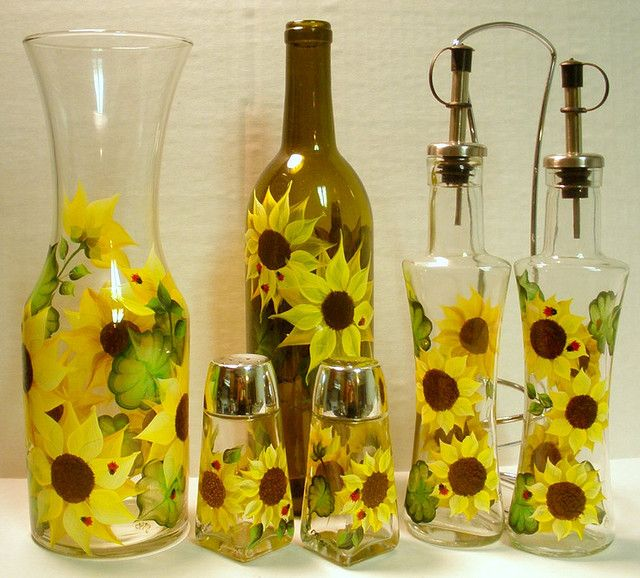 HAND PAINTED SUNFLOWER GLASSWARE by The PaintedMann, via Flickr