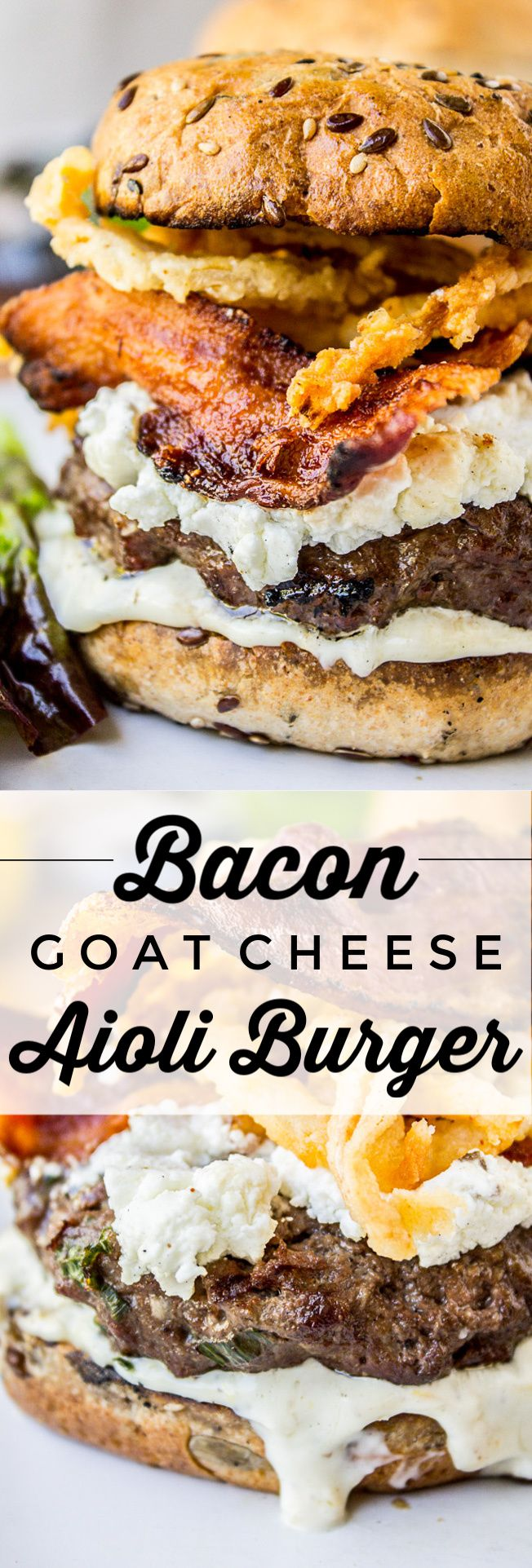 Bacon and Goat Cheese Aioli Burger with Crispy Onions