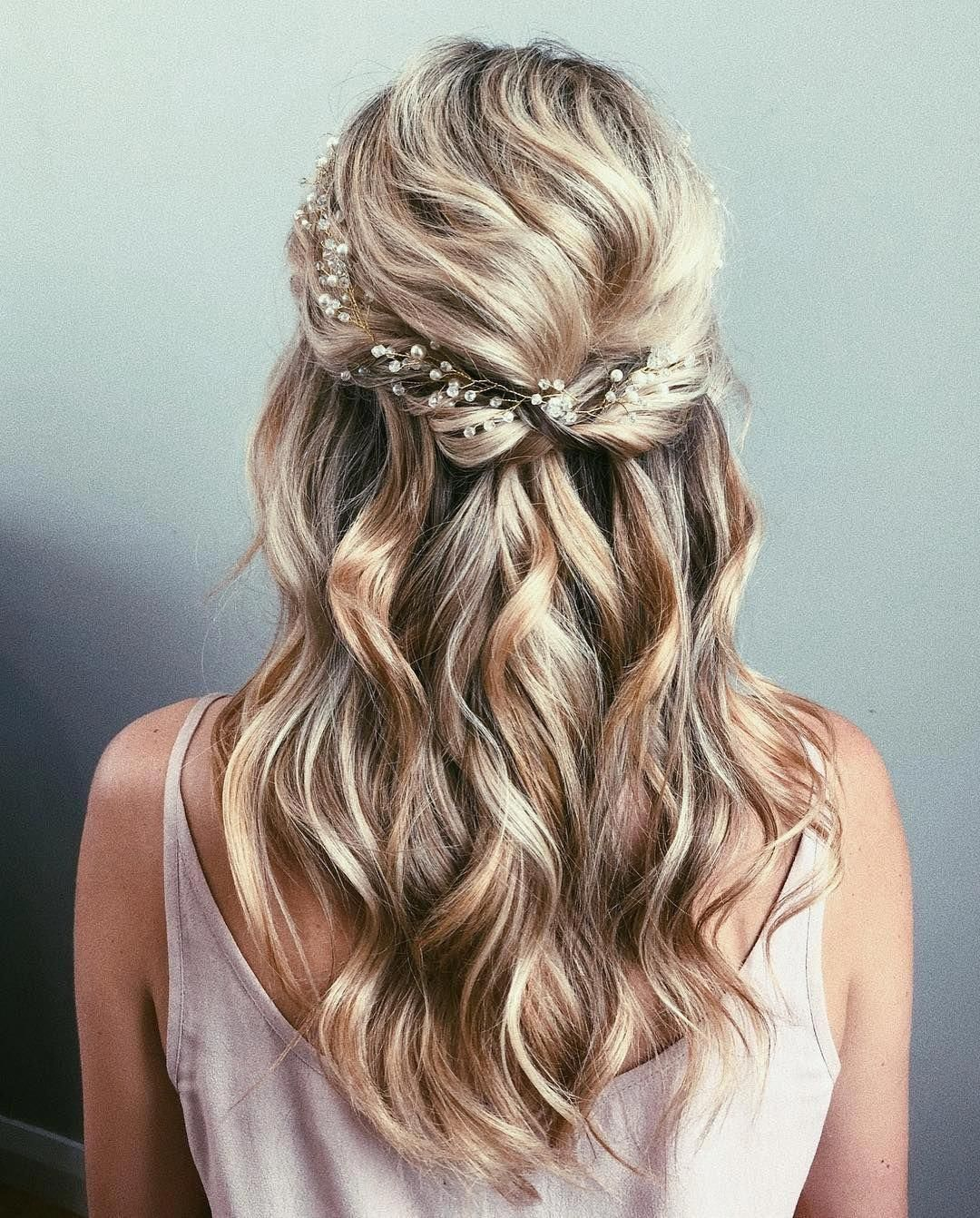 gorgeous half up half down wedding hairstyle , bridal updo