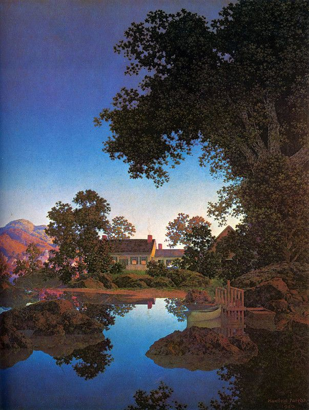 Maxfield Parrish, I have some of his prints, love the colors and the models he used.