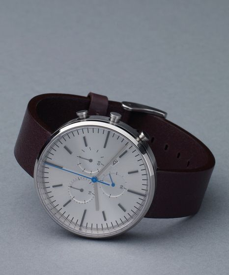 Uniform Wares 302 Series - Brushed Steel / Mahogany Leather
