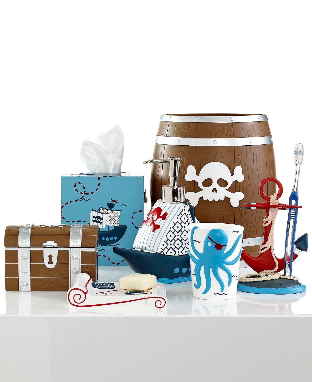 Kassatex Bath Accessories Pirates Trash Can Macy S Bathroom Kids Pirate Bathroom Kids Bath