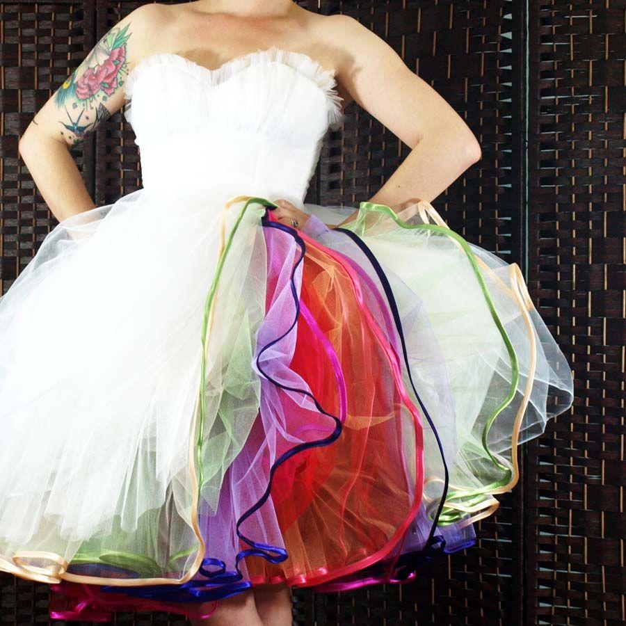 Diy Tutorial Multi Layered Tulle Petticoat Make Your Own Rainbow Petticoat Diy Skirt Rainbow Wedding Dress Dresses