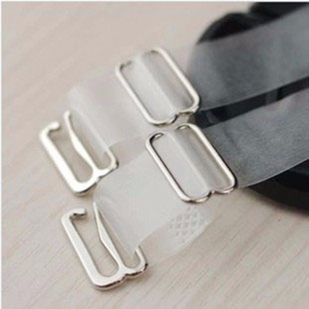 2 Pairs Adjustable Detachable Transparent Clear Invisible Bra Straps Metal Hook