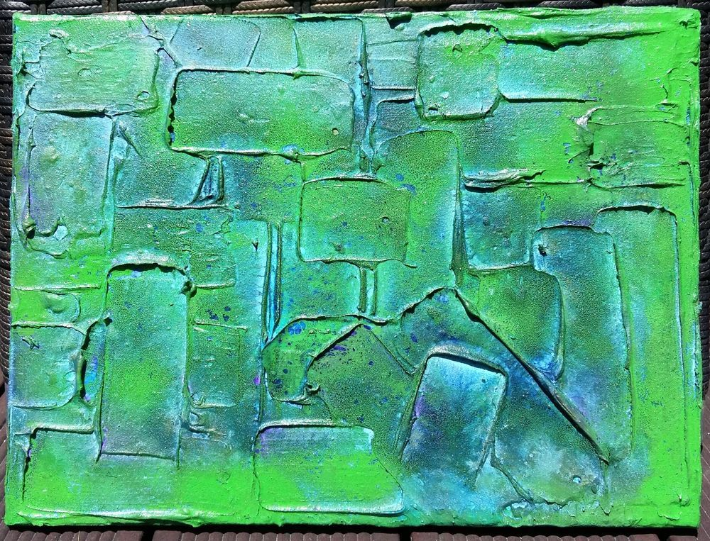 Acrylbild Leinwand 40 X 30 Blau Grun Strukturen Spachtelmalerei Gemalde Abstrakt Acrylbilder Abstrakt Spachtelmalerei