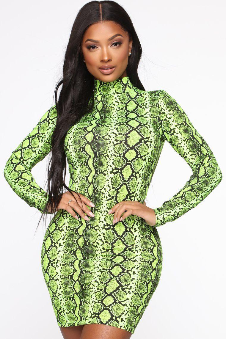 Wildly Entertaining Long Sleeve Mini Dress Lime Mini