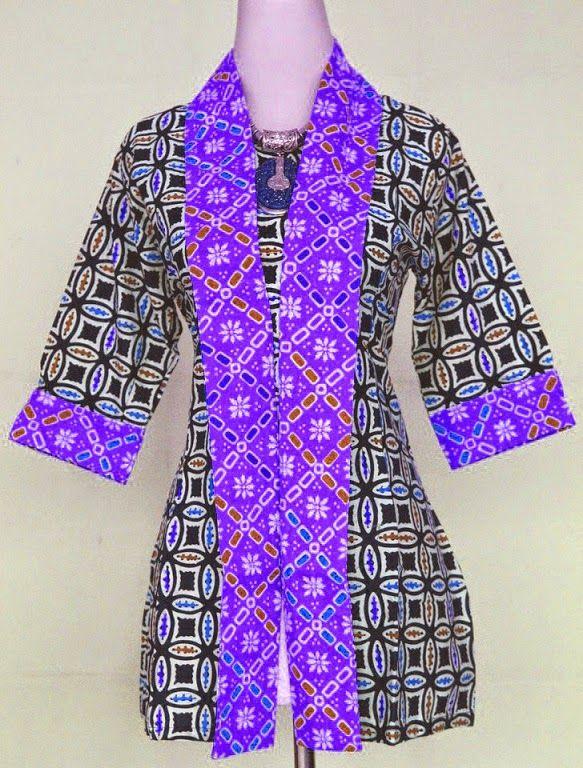 model baju batik kantor lengkap lengan panjang wanita kombinasi