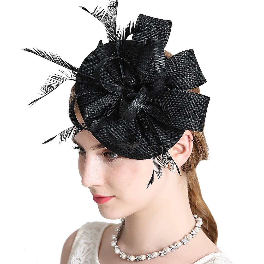 f1be2f7ef Women Elegant Fascinator Hat Bridal Feather Hair Clip Accessories in ...