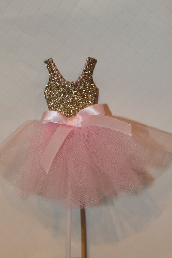 0c0135aae Pink & Gold Ballerina Cake Toppers Princess tutu by PoshMyParty, $25.00