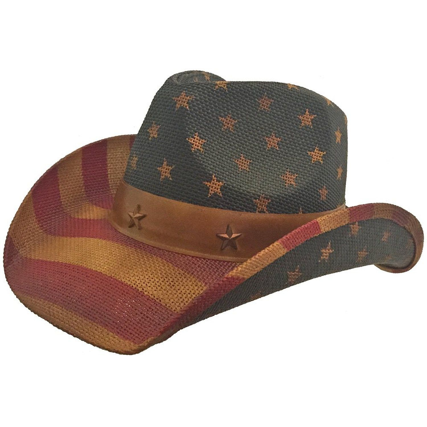 719729d590070e American Flag Country Distressed Tea Stain Star Cowboy Hat, Red White Blue  USA #americanflag #cowboyhat #usa #patriotic #flaghat #starsandstripes ...