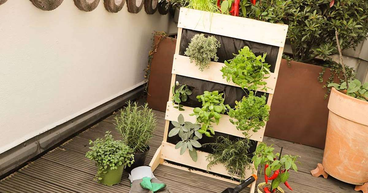 Auf Kleinstem Raum Kannst Du Mit Diesem Beet Krauter Obst Und Gemuse Ernten Pflanzideen Krautergarten Balkon Mini Garten