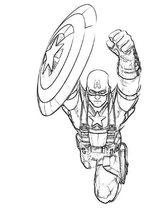 Flying Captain America Coloring Page  Art  Coloring Pages