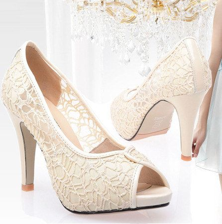 Bridesmaids Vintage Style Lace Genuine Leather Wedding Shoes Bride