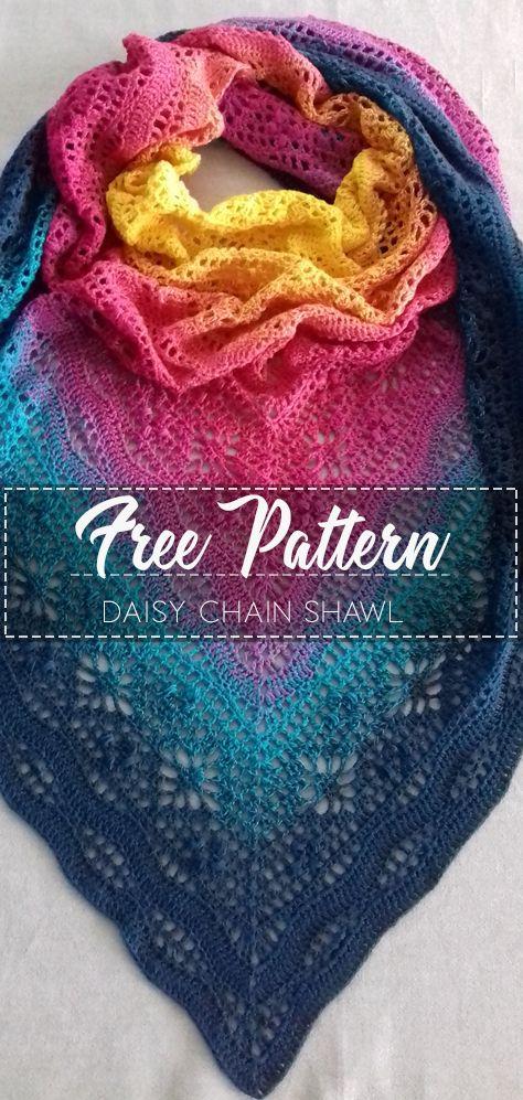 Daisy Chain Shawl – Pattern Free  #shawlcrochetpattern