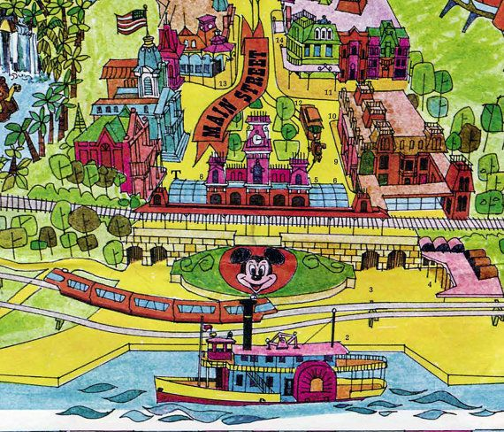 Vintage Disney World Map 1971 Fine Art Paper Print Canvas Or
