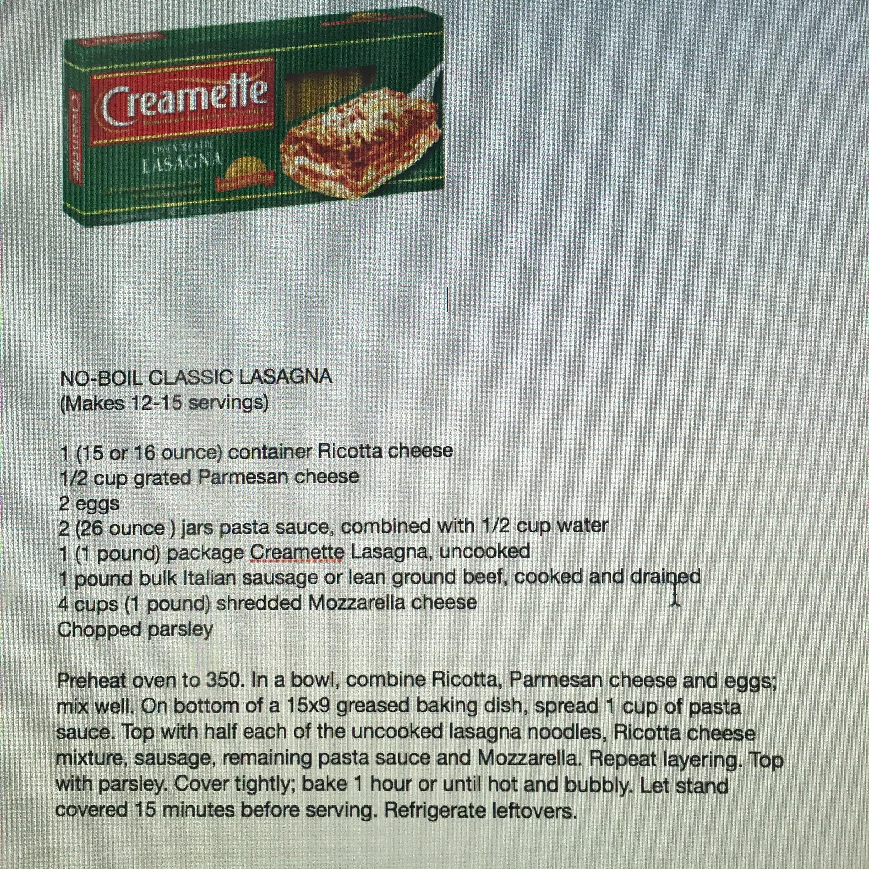 Creamette No Boil Classic Lasagna Creamette Lasagna Recipe