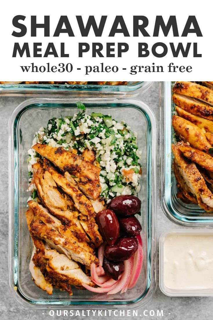 Chicken Shawarma Meal Prep Bowls Whole30 Grain Free  Chicken shawarma meal prep bowls  WOAH This is THE whole30 lunch recipe you need to meal prep f