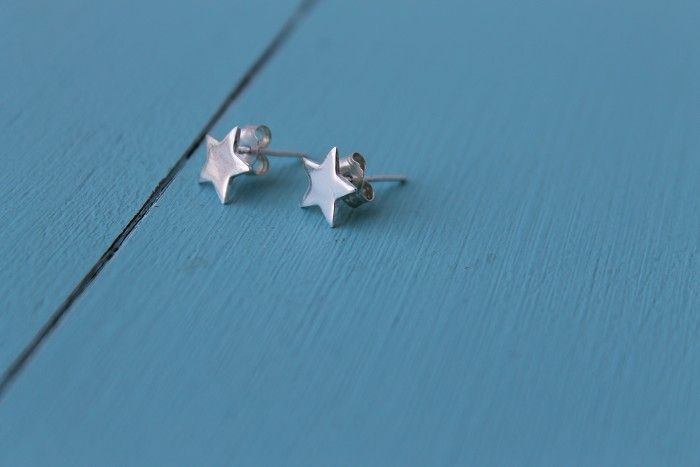 Tiny Silver Star- Stud Earrings-Sterling Silver 925 - by MeganMeiringDesign on madeit