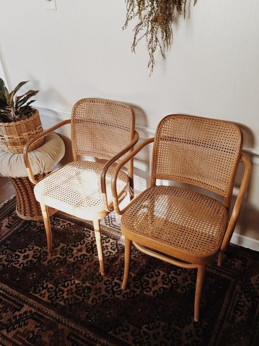 Thonet Bentwood Cane Armchairs, cane dining chairs, bentwood dining chairs, cane dining chairs, FMG stamped made in poland, Josef Hoffmann by VintageandSwoon from Vintage & Swoon of New Bedford, MA | ATTIC