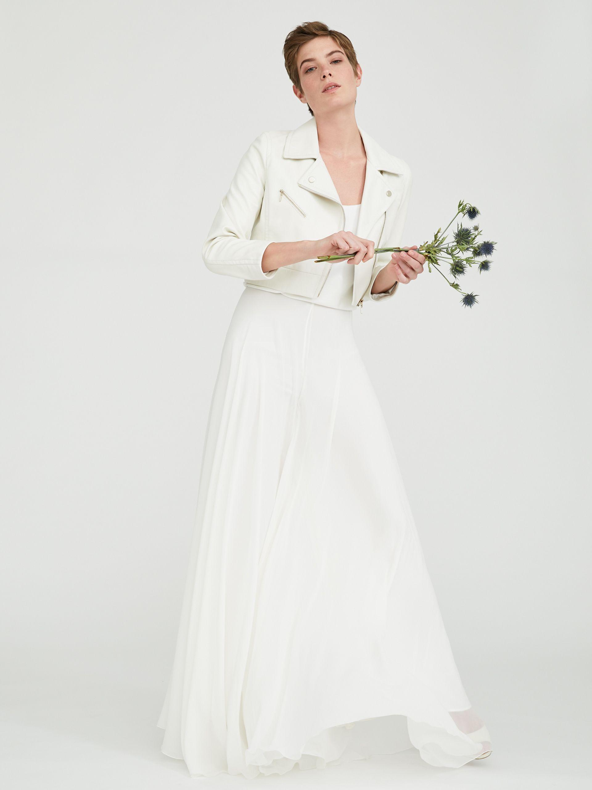 Max Mara Bridal Biker Jacket In Nappa Leather White Leather Wedding Dress Leather Jacket Wedding Dress Leather Wedding Dress [ 2560 x 1920 Pixel ]