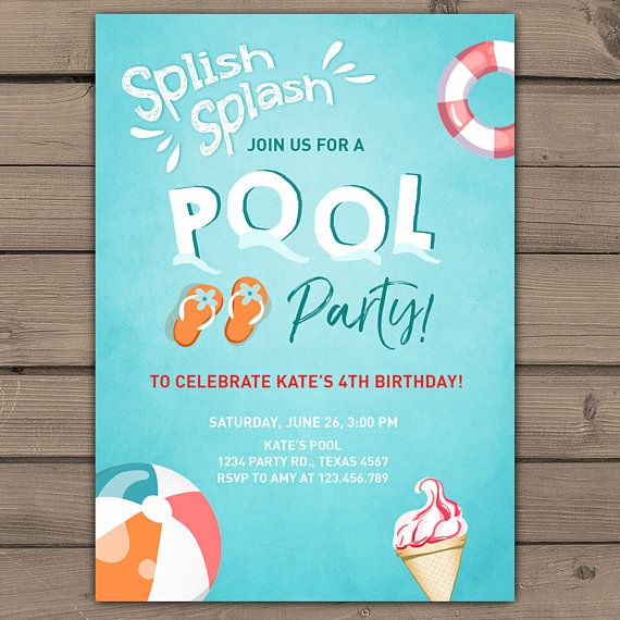 Splish splash birthday invitation pool party pool birthday bash splish splash birthday invitation pool party by anietillustration stopboris Image collections