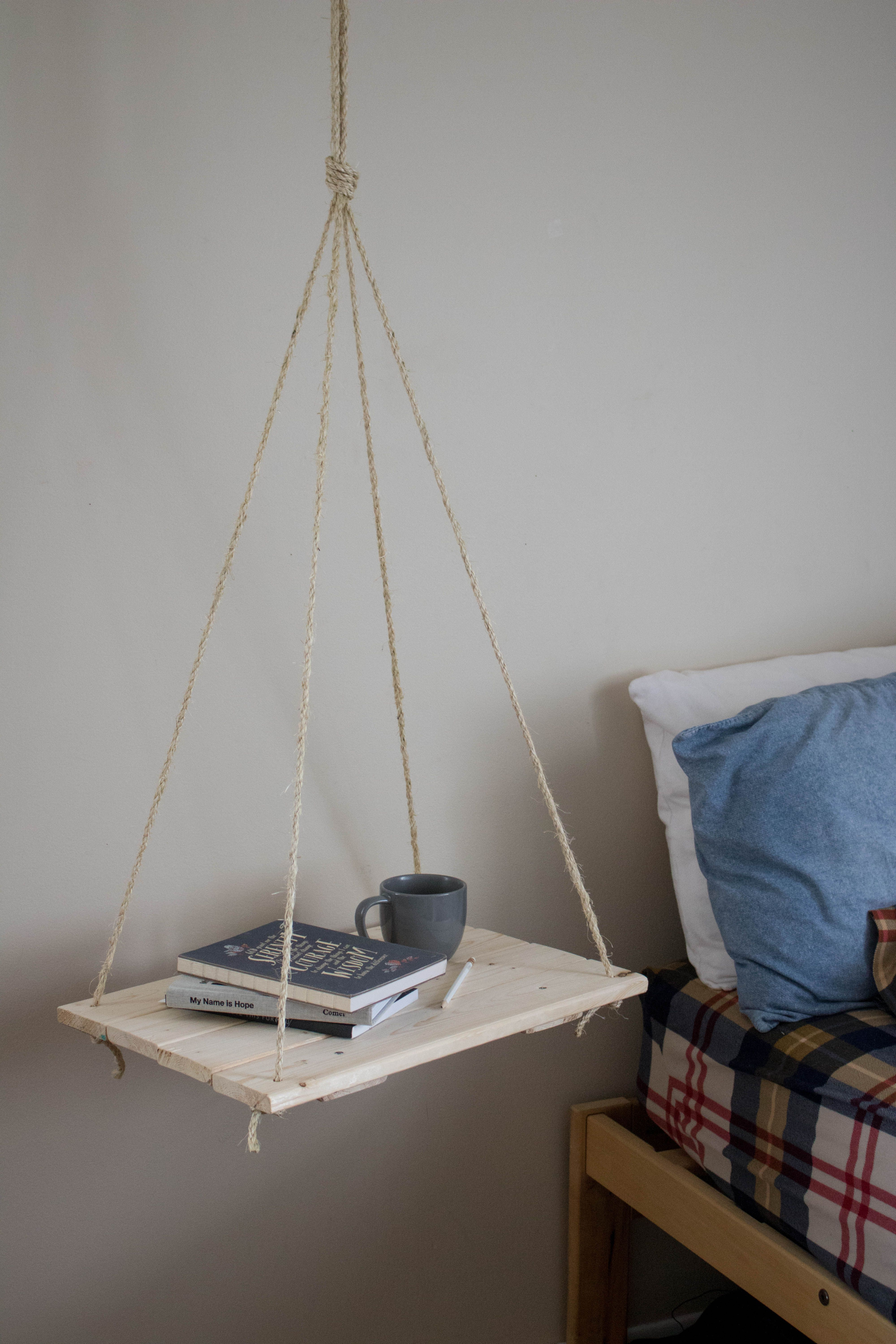 Hanging Bedside Table Tumbleweed And Twine Dorm Room Inspiration Space Saving Apartment Bedside Table