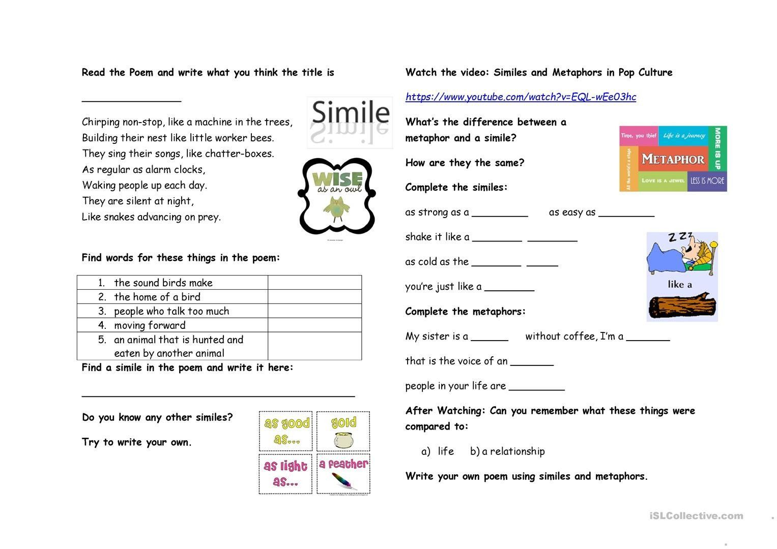 Similes And Metaphors Worksheet Similes And Metaphors English Esl Worksheets For Distance Similes And Metaphors Simile Metaphor Lesson