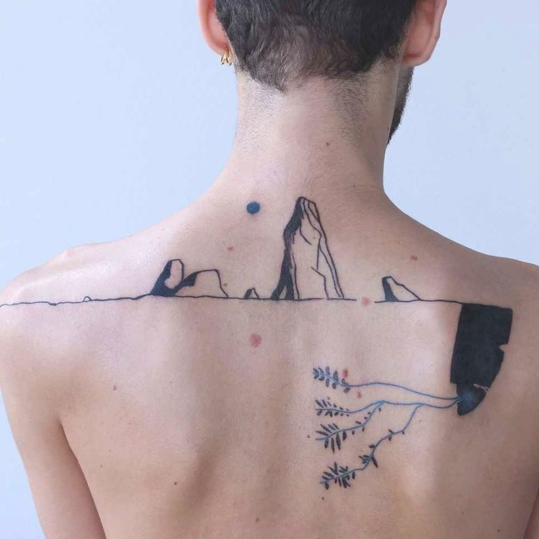 Tattoo artist Maison Métamose authors color and black abstract tattoo | Paris, France | #inkpplcom #colortattoo #blackwork #blacktattoo #contemporaryart #tattooartist #tattooing #moderntattooing #abstract #sketch #authorsstyle #moderntattoo