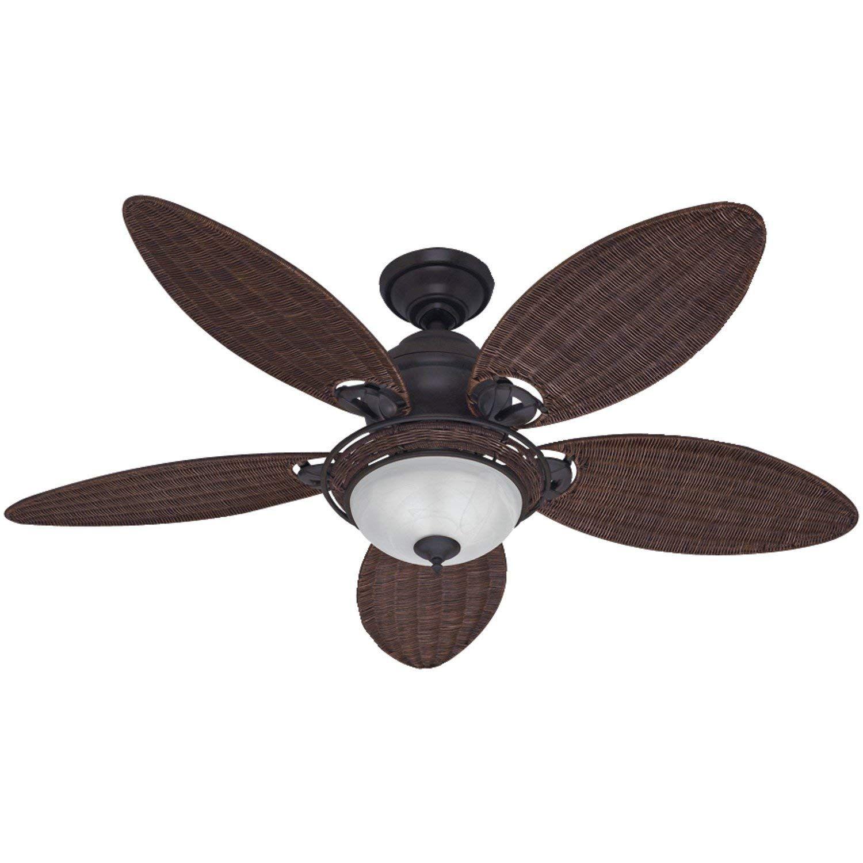 Amazon Com Hunter 54095 Caribbean Breeze 54 Inch Ceiling Fan With Five Antique Dark Wicker Blades And Light Hunter Ceiling Fans Ceiling Fan Bronze Ceiling Fan