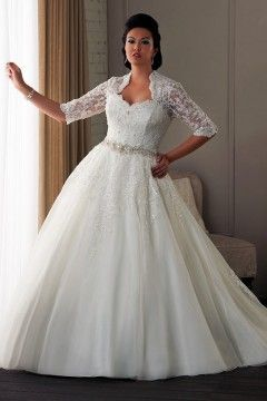A Line Scalloped Edge Cathedral Train Lace Fabric Plus Size Wedding Dresses With Beading