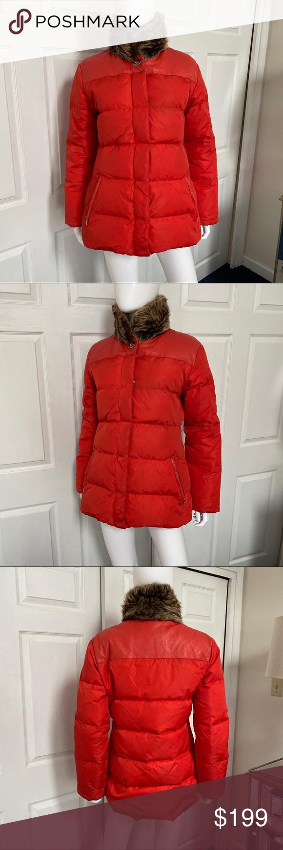 Coach Red Puffer Jacket W Leather Trim Fur Collar Red Puffer Jacket Jackets Puffer Jackets [ 1740 x 580 Pixel ]