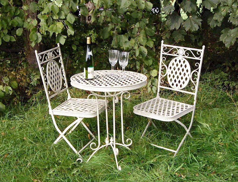 shabby chic garden furniture set in cream this set comes complete with table and two chairs for use all year round perfect for use on the lawn