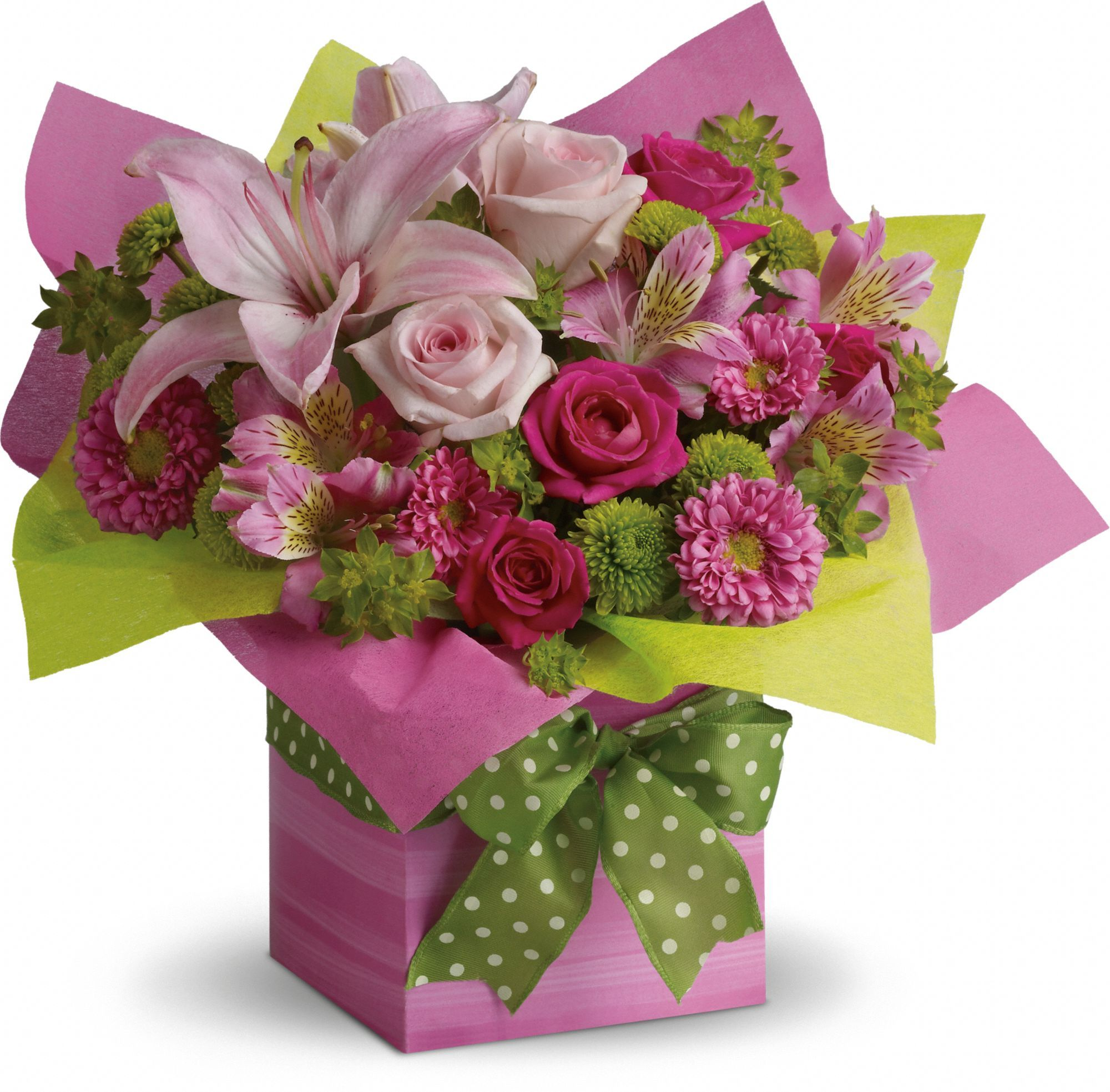 Telefloras pretty pink present flowers and butterflies 3 telefloras pretty pink present izmirmasajfo
