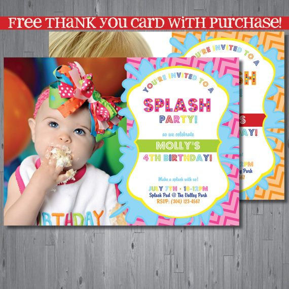 splash party Birthday Invitation, first birthday party invitation - pool party invitation
