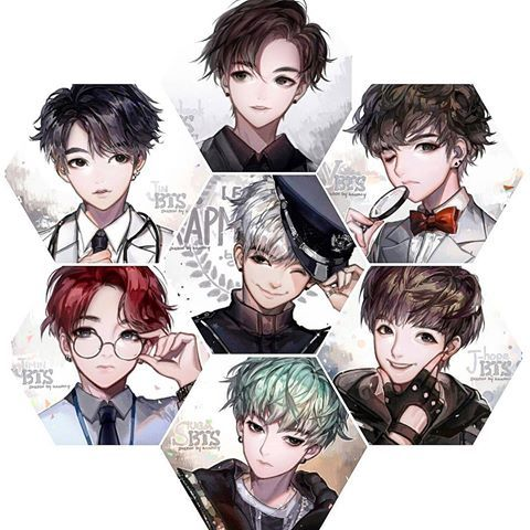 BTS Anime Style I Genuinely Thought This Was Mystic Messenger Before Got A Closer Look
