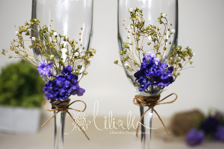 Personalized Champagne Flutes, Garden/Floral/Lavender Theme wedding ...