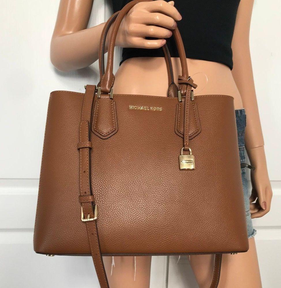 5b84579960d0 NWT Michael Kors Large Leather Satchel Handbag Luggage Brown Ballet  Shoulder Bag  MichaelKors  Satchel