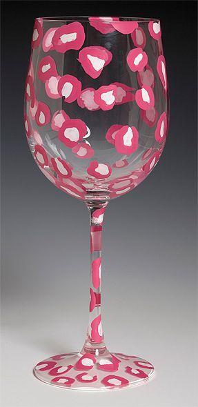 <3 Pink leopard print wine glass