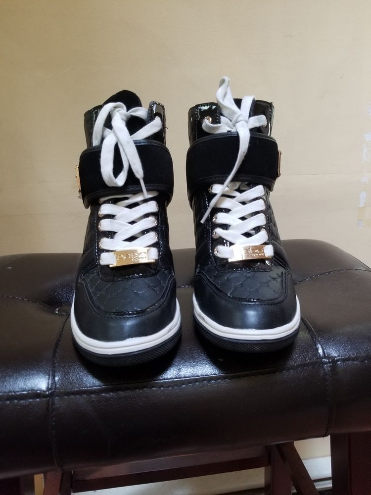 8f846ad3415 Bebe Sport Colby Wedge Sneakers Black 6M  fashion  clothing  shoes   accessories