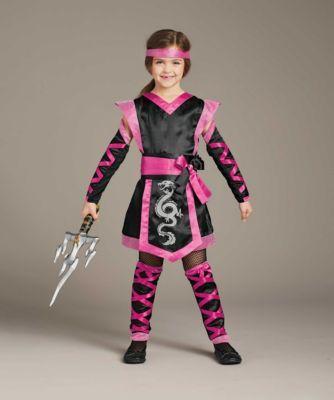 Pink Power Ninja Girls Martial Arts Fancy Dress Costume Ages 3-13
