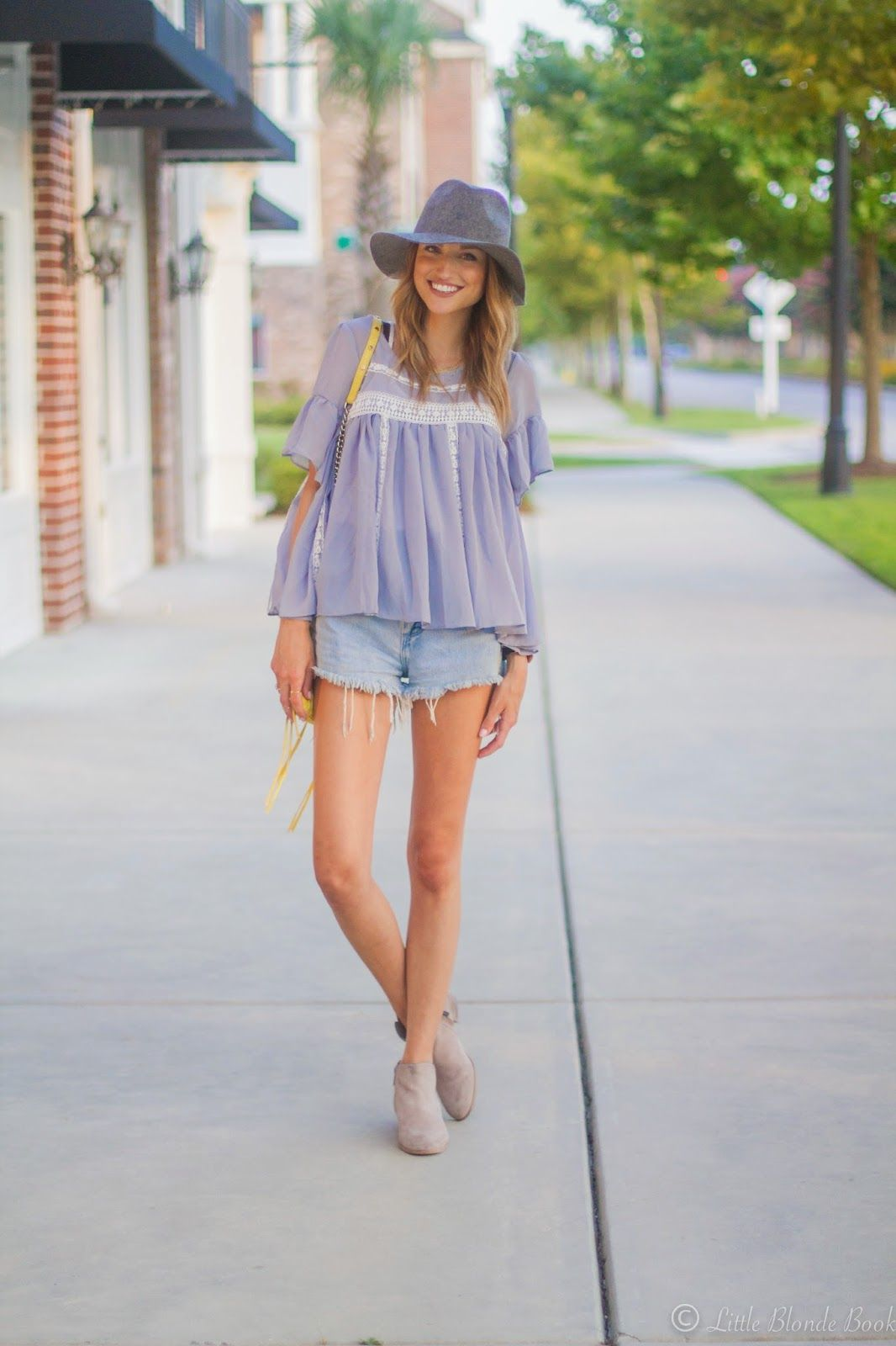 00b16be14673 Taylor Morgan of Little Blonde Book wears the Petty boots with summery  vintage cut-offs  SamsGirls