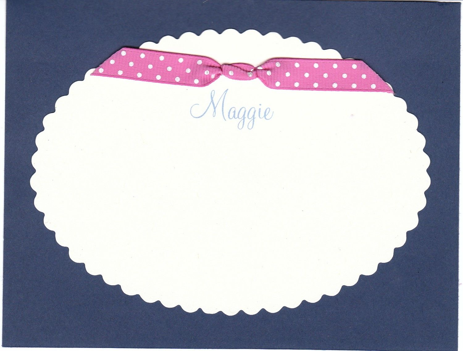 Scalloped flat cards by GinghamandDot on Etsy