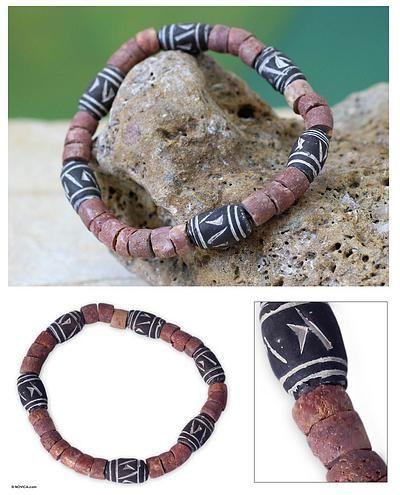 Bauxite and ceramic stretch bracelet - Our Joy | NOVICA